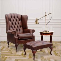 Designer Sofas 4 U - Chesterfield Princes Mallory Flat Wing Queen Anne High Back Wing Chair UK Manufactured Antique Tan Leather With Matching