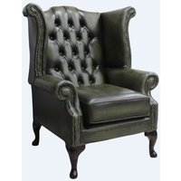 Chesterfield Queen Anne High Back Wing Chair Antique Olive Leather