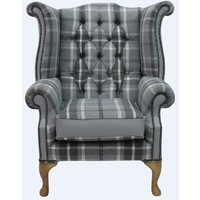 Designer Sofas 4 U - Chesterfield Queen Anne High Back Wing Chair Balmoral Dove Silver Grey Leather