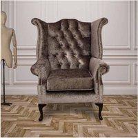 Designer Sofas 4 U - Chesterfield Queen Anne High Back Wing Chair Boutique Silver Velvet