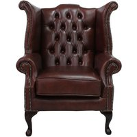 Designer Sofas 4 U - Chesterfield Queen Anne High Back Wing Chair Byron Conker Leather