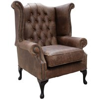 Chesterfield Queen Anne High Back Wing Chair Cracked Wax Tobacco Leather