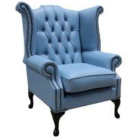 Chesterfield Queen Anne High Back Wing Chair Haze Blue
