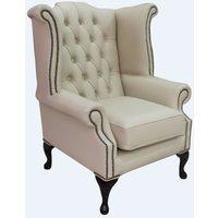 Designer Sofas 4 U - Chesterfield Queen Anne High Back Wing Chair Ivory Cream