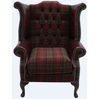 Chesterfield Queen Anne High Back Wing Chair Lana Terracotta Antique Oxblood Leather