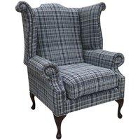 Designer Sofas 4 U - Chesterfield Queen Anne High Back Wing Chair Lomond Blue Fabric