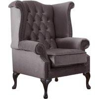 Chesterfield Queen Anne High Back Wing Chair Malta Lavender Purple Velvet Fabric