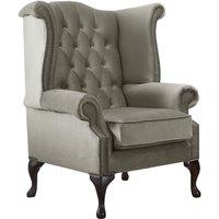 Chesterfield Queen Anne High Back Wing Chair Malta Putty Beige Velvet Fabric