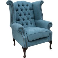 Designer Sofas 4 U - Chesterfield Queen Anne High Back Wing Chair Marinello Kingfisher Fabric