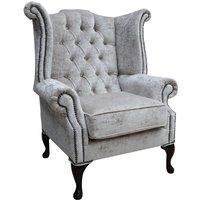 Designer Sofas 4 U - Chesterfield Queen Anne High Back Wing Chair Modena Hessian Velvet