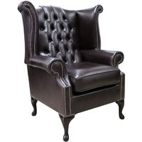 Designer Sofas 4 U - Chesterfield Queen Anne High Back Wing Chair Old English Smoke Leather 2 Base Height