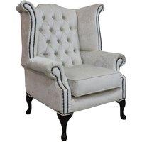 Chesterfield Queen Anne High Back Wing Chair Pastiche Chalk Velvet