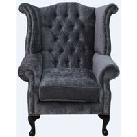 Chesterfield Queen Anne High Back Wing Chair Pastiche Steel Velvet