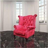 Designer Sofas 4 U - Chesterfield Queen Anne High Back Wing Chair Plush Red Velvet