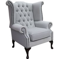 Chesterfield Queen Anne High Back Wing Chair Quattro Sky Fabric