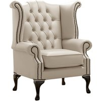 Designer Sofas 4 U - Chesterfield Queen Anne High Back Wing Chair Shelly Beige Leather