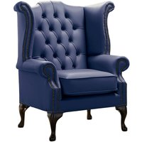 Designer Sofas 4 U - Chesterfield Queen Anne High Back Wing Chair Shelly Bilberry Leather