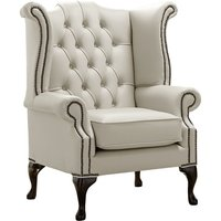 Designer Sofas 4 U - Chesterfield Queen Anne High Back Wing Chair Shelly Cottonseed Leather