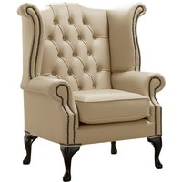 Chesterfield Queen Anne High Back Wing Chair Shelly Dark Beige Leather