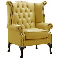 Designer Sofas 4 U - Chesterfield Queen Anne High Back Wing Chair Shelly Dark Deluca Leather