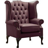 Designer Sofas 4 U - Chesterfield Queen Anne High Back Wing Chair Shelly Dark Grape Leather
