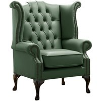 Designer Sofas 4 U - Chesterfield Queen Anne High Back Wing Chair Shelly Forest Green Leather