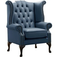 Designer Sofas 4 U - Chesterfield Queen Anne High Back Wing Chair Shelly Majolica Blue Leather