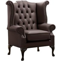 Designer Sofas 4 U - Chesterfield Queen Anne High Back Wing Chair Shelly Mocca Leather