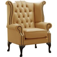 Designer Sofas 4 U - Chesterfield Queen Anne High Back Wing Chair Shelly Parchment Leather