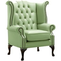 Chesterfield Queen Anne High Back Wing Chair Shelly Pea Green Leather