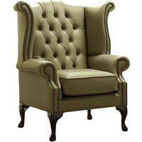 Designer Sofas 4 U - Chesterfield Queen Anne High Back Wing Chair Shelly Sage Leather
