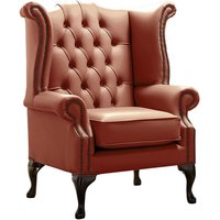 Chesterfield Queen Anne High Back Wing Chair Shelly Spice Leather