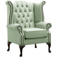 Chesterfield Queen Anne High Back Wing Chair Shelly Thyme Green Leather