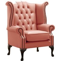 Chesterfield Queen Anne High Back Wing Chair Shelly Tuscany Leather