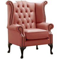 Chesterfield Queen Anne High Back Wing Chair Shelly Wood Burner Leather
