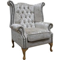 Designer Sofas 4 U - Chesterfield Queen Anne High Back Wing Chair Shimmer Pearl Velvet