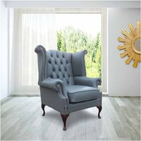 Chesterfield Queen Anne High Back Wing Chair Soft Vele Iron Grey Leather