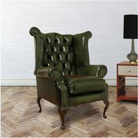 Designer Sofas 4 U - Chesterfield Queen Anne High Back Wing Chair UK Manufactured Antique Green