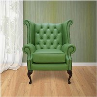 Chesterfield Queen Anne High Back Wing Chair UK Manufactured Apple Green