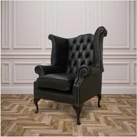 Designer Sofas 4 U - Chesterfield Queen Anne High Back Wing Chair UK Manufactured Black
