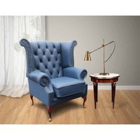 Designer Sofas 4 U - Chesterfield Queen Anne High Back Wing Chair UK Manufactured Majolica Blue Leather