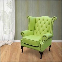 Chesterfield Queen Anne High Back Wing Chair UK Manufactured Melon