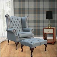 Designer Sofas 4 U - Chesterfield Queen Anne High Back Wing Chair UK Manufactured Vele Soft Iron Grey Leather With Matching Footstool