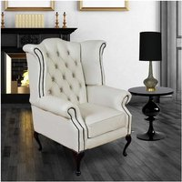 Designer Sofas 4 U - Chesterfield Queen Anne High Back Wing Chair UK Manufactured White