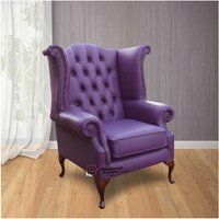 Designer Sofas 4 U - Chesterfield Queen Anne High Back Wing Chair UK Manufactured Wineberry