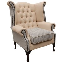 Chesterfield Queen Anne Wing Chair High Back Armchair Galleria Fabric
