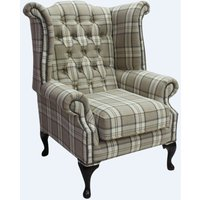 Chesterfield Queen Anne Wing Chair High Back Armchair Piazza Square Check Beige Fabric