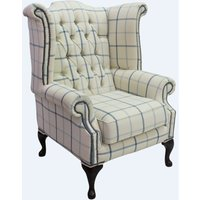 Chesterfield Queen Anne Wing Chair High Back Armchair Piazza Square Check Blue Fabric