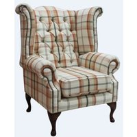 Designer Sofas 4 U - Chesterfield Queen Anne Wing Chair High Back Armchair Piazza Square Check Mulberry Fabric