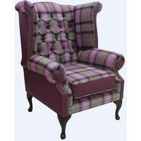 Designer Sofas 4 U - Chesterfield Queen Anne Wool Tweed Leather Wing Chair Fireside High Back Armchair Skye Amethyst Check